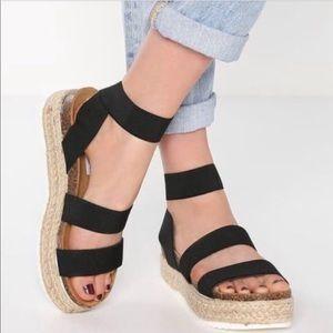 Shoes - Black Espadrilles Platform Two Strap Sandals Twine
